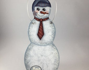Hand Painted Snowman Christmas Ornament, Winter Ornament, Snowman, Tole Painted, Wooden