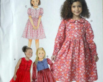 Butterick 6084 Sewing Pattern, Toddlers/Girls' Empire Dress, Size 2-3-4-5, Uncut FF, Easy to Sew