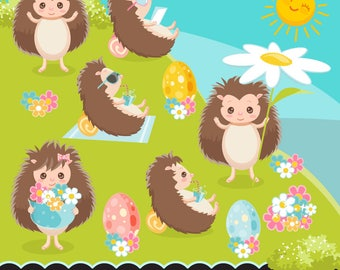Easter Hedgehog clipart, cute spring graphics, svg lettering, illustration, planner stickers, scrapbooking, character, cute animal, cookie