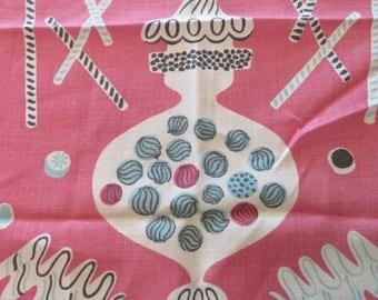 Vintage Tammis Keefe Pink & Aqua Candy Tea Towel