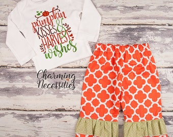 NEW Fall Thanksgiving Outfit, Baby Toddler Girl Clothes, Top Ruffle Pants Set, Pumpkin Kisses Harvest Wishes, Charming Necessities