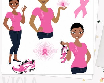 Breast cancer girl character clipart, woman october charity support month digital png clip art, african american dark skin tone (Viola L282)