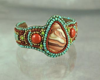 Bracelet, Beaded, Bead Embroidered, Rolling Hills dolomite, Red Jasper,  Cuff