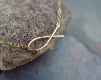 Gold, Filled, Handmade, Christian, Ichthys, Faith, Fish Necklace, Ichthus, Baptism Gift