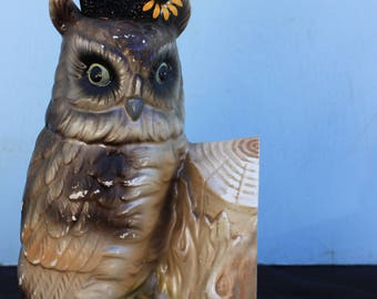 Vintage Style Halloween - Ceramic Owl with Witch Hat, Bookend