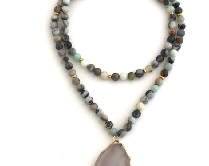 amazonite and druzy agate statement necklace