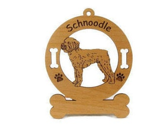 3890 Schnoodle Standing Personalized Wood Ornament