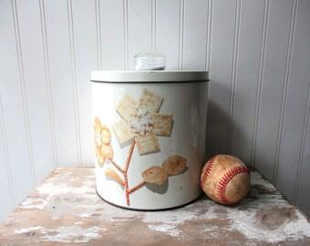 Vintage Krispie Kan white tin canister cracker chip cookie jar Midcentury Kitchen Storage