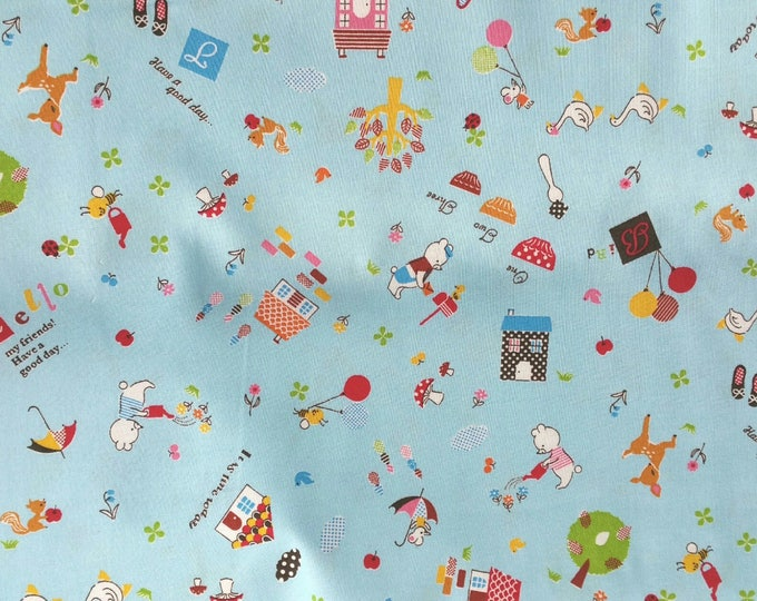 Japanese Cotton Fabric - Hello My Friends - CR4412C Blue, Bear and Friends