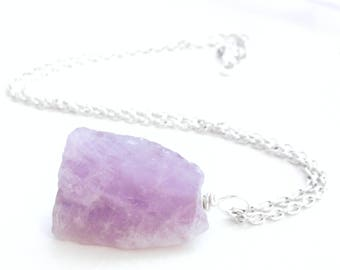 Raw Amethyst Pendant, Lilac Purple Stone, Rough February Birthstone Jewelry