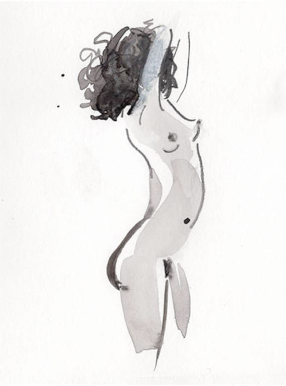 Mini Nude #35 -original watercolor painting by Gretchen Kelly
