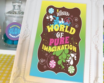 Willy Wonka quotes, images for 4x6 or 5x7 picture frames Willy Wonka birthday party decorations DiY printable digital files MuLTiCoLoR