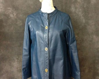 Vintage 1960's Bonnie Cashin blue leather coat turnlock small