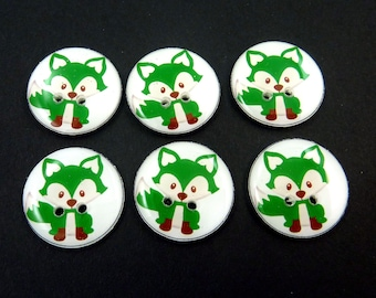 6 Handmade Green  Fox Buttons.  Woodland Animal Sewing Buttons. Novelty Buttons.  Scrap Book Buttons.