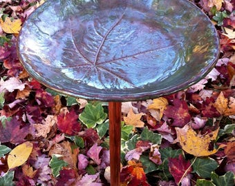Ceramic Birdbath, Ceramic Papaya Leaf, Ceramic Papaya Leaf on a Copper Pole, Ceramic Birdbath on a Copper Pole