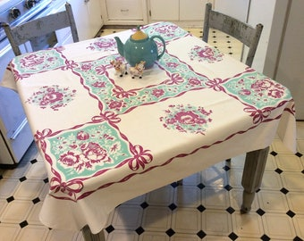 Vintage Tablecloth Roses Daisies Morning Glories Ribbons & Bows