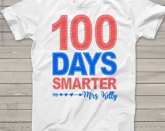 Teacher shirt - 100 Days Smarter - faux stitch hundred day personalized crew neck or vneck shirt for teachers mscl-086
