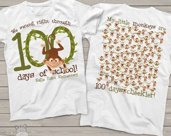 Teacher shirt - 100 Days of school - monkey 100 hundred day crew neck or vneck shirt    mscl-114