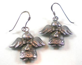 Angel Earrings , Sterling Angel Pierced Earrings , Silver Guardian Angel Earrings , Vintage Jewelry