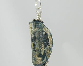 deep blue ancient Roman glass sterling silver necklace 18 inch FREE SHIPPING OOAK