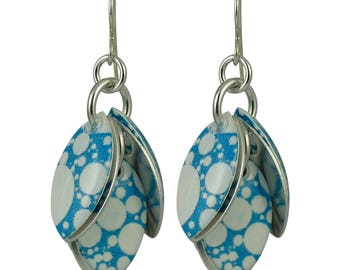 Bubblicious Petals to the Metal Earrings in Marine Blue