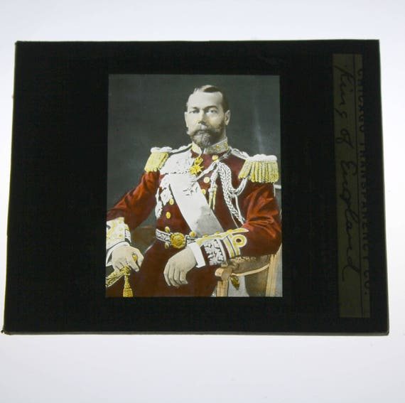 Antique King George V of England Glass Magic Lantern Slide, Color Photo