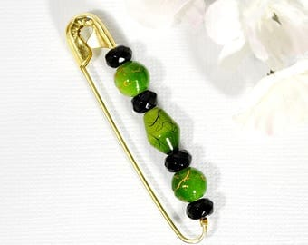Green Scarf Pin Wrap Skirt Pin Beaded Shawl Pin Green Black Pin Hijab Pin Sarong Clip
