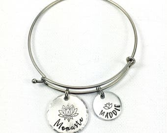Mom Bangle Bracelet, Momaste, Namaste Bracelet, Yoga Bracelet, Mom Bracelet, Mothers Day Gift, Kids Names, Lotus, Funny Gift for Mom