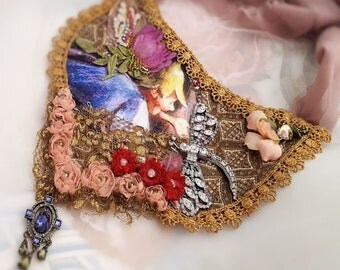 Fairy necklace, fairytale statement necklace, Boho jewelry, wearable art textile jewelry, Fitzgerald fairy jewelry, fantasy jewelry