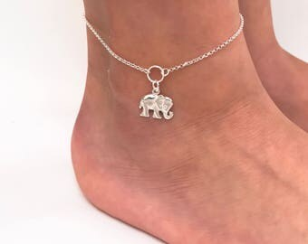 Elephant Anklet in Sterling Silver - Adjustable Sterling Silver Elephant Anklet