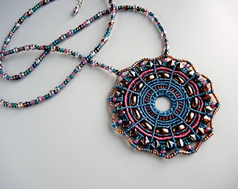 Raku Colors Micro Macrame Mandala Necklace  - Micro Macrame Necklace - Macrame Jewelry  - Blue Necklace