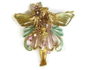 Pastel Enamel, Crystals, Rhinestones and Pearls Primrose Flower Fairy Brooch or Pendant, signed Kirks Folly