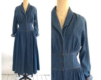 80s denim maxi dress | 1980s denim dress | large vintage dress