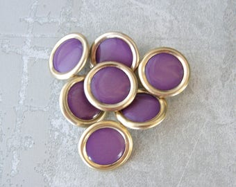 Purple and Gold Buttons, 19mm 3/4 inch - Gold Ring-around Metal Buttons w/ Purple Inset - 7 VTG NOS Mid-Century Retro Mod Gold Buttons MT032