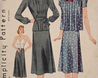 Simplicity 3153 Vintage 1940s Sewing Pattern Maternity Dress Camisole Dress with Smock Long or Short Sleeves 40s Pattern Unused Bust 34""