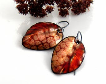 Abstract Enameled Leaf Earrings, Half Reddish Orange Enamel Dangle Earrings, Copper Vitreous Enamel Leaves, OOAK Gift for Her, Ready to Mail