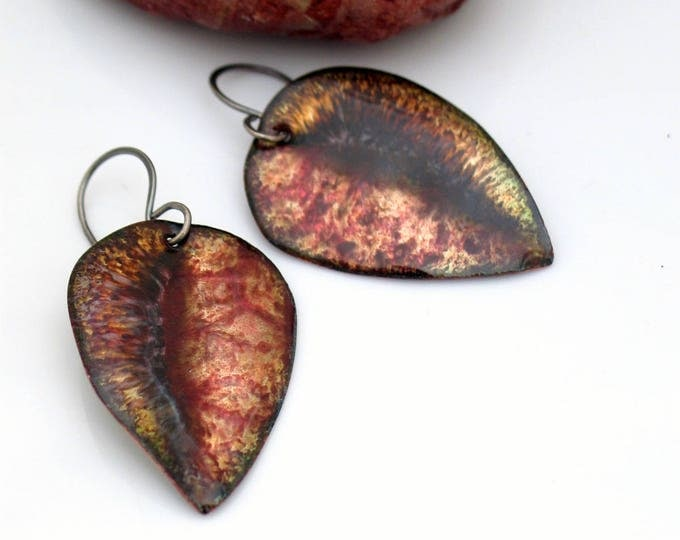 Featured listing image: Autumn Leaf Earrings, Copper Enameled Earrings with Red and Brown Swirls, Original Vitreous Enamel Art Dangles, Ready to Ship, Gift for Her