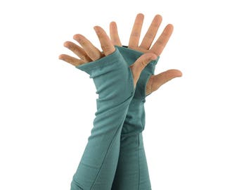 Arm Warmers in Aquamarine Dream - Blue Fingerless Gloves - LAST PAIR