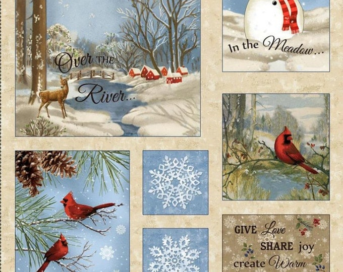 CHRISTMAS HOLIDAY FABRIC, Winter Memories  Christmas Holiday Cotton Flannel Panel 24 x 44 inches by Wing and a Prayer for Timeless Treasures