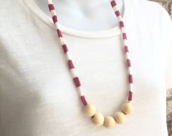 Pink Stripe Fabric Necklace with wooden beads, Fabric Statement Necklace, Tshirt Yarn, Upcycled Jewelry, Repurposed Jewelry