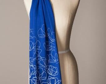 botanical scarf, blue cotton scarf, soft scarf, rich blue scarf