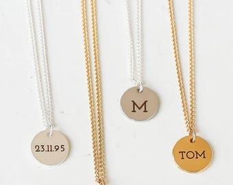 Custom Engraved Tiny Disc Necklace, Tiny Monogram Necklace, Personalized Disc Necklace, Name Necklace, Initial Necklace, Gold Monogram