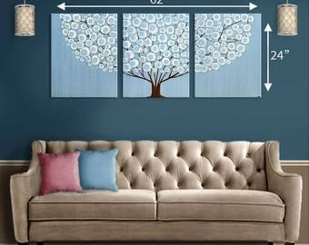 Original Acrylic Painting on Canvas Triptych Extra Large Wall Art of Blue Tree Painting - 62x24