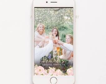 Bridal Shower Geofilter Wedding Geofilter Snapchat Geofilter Blush Pink Geofilter Gold Glitter Geo Filter Baby Shower Geofilter Blush Flower