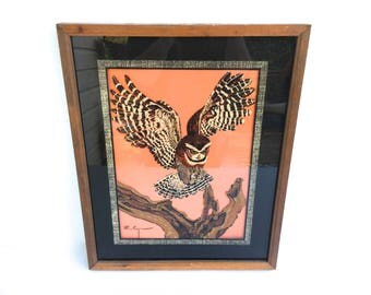 Vintage Reverse Glass Owl Painting~ Painting on Glass~ Cabin Decor~ Rustic wooden frame