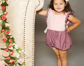 Fall Vintage Collection Hampton Lace Ruffled Trimmed romper infants and  toddlers and girls sizes 6-12 mos up to girl 8 -
