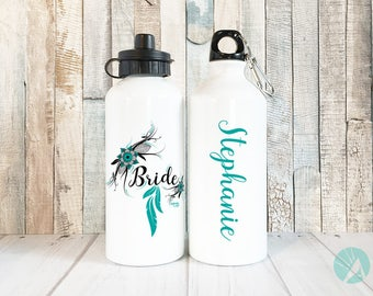 Personalized Bride Water Bottle, Boho Wedding, Bride Water Bottle, Personalized Wedding Water Bottle, Henna Design, Bridal Party Gifts
