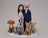 Bride & Groom with Pets Customized Wedding Cake Topper - reserved for amandaedwards136