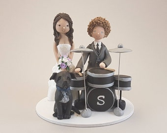 Unique Cake Toppers - Bride & Groom with a Dog and Drums Custom Made Wedding Cake Topper