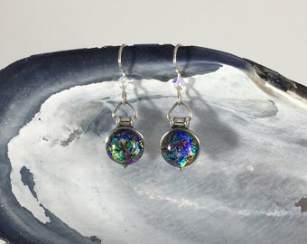 Earrings: Opal Colored Dichroic Fused Glass + Sterling Silver